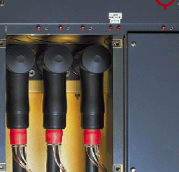 Screened 24 kV single cables in a reduced cable box